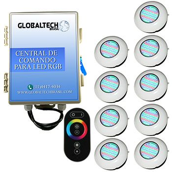 Led Piscina RGB - Kit 9 Easy Led 70 + Central + Controle Touch