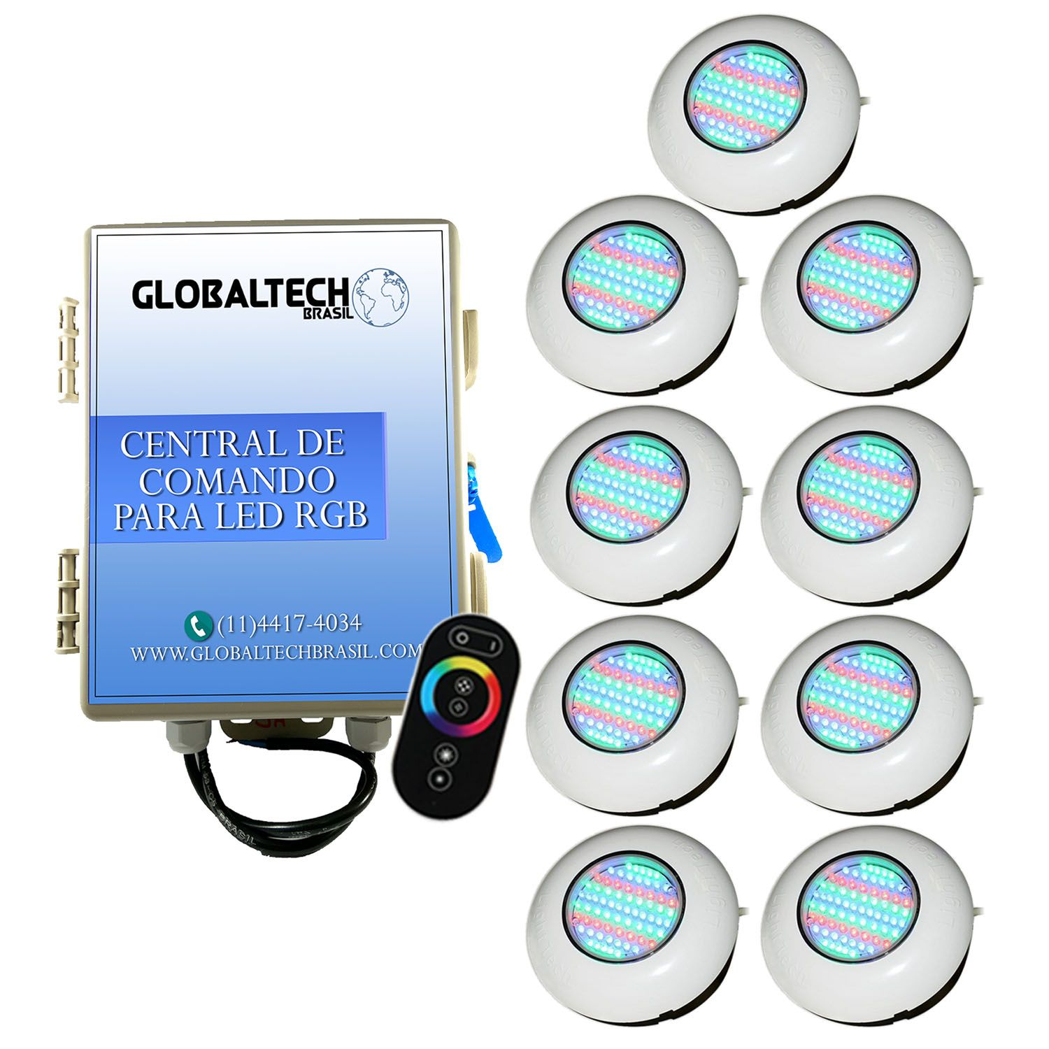 Led Piscina - Kit 9 Easy Led 70 + Central + Controle Touch