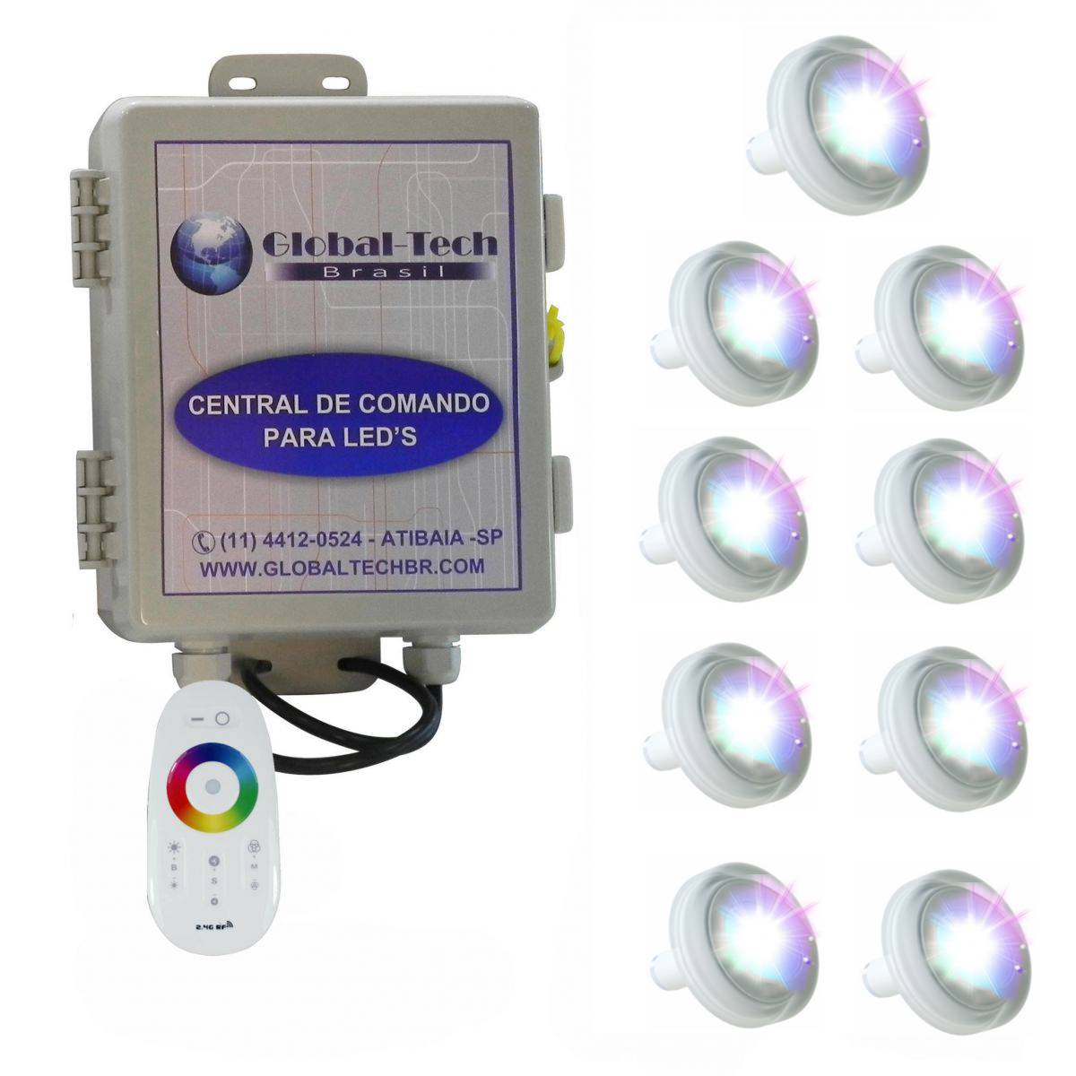 Led Piscina RGB - Kit 9 Led Tholz 4,5W ABS + Central + Controle Touch