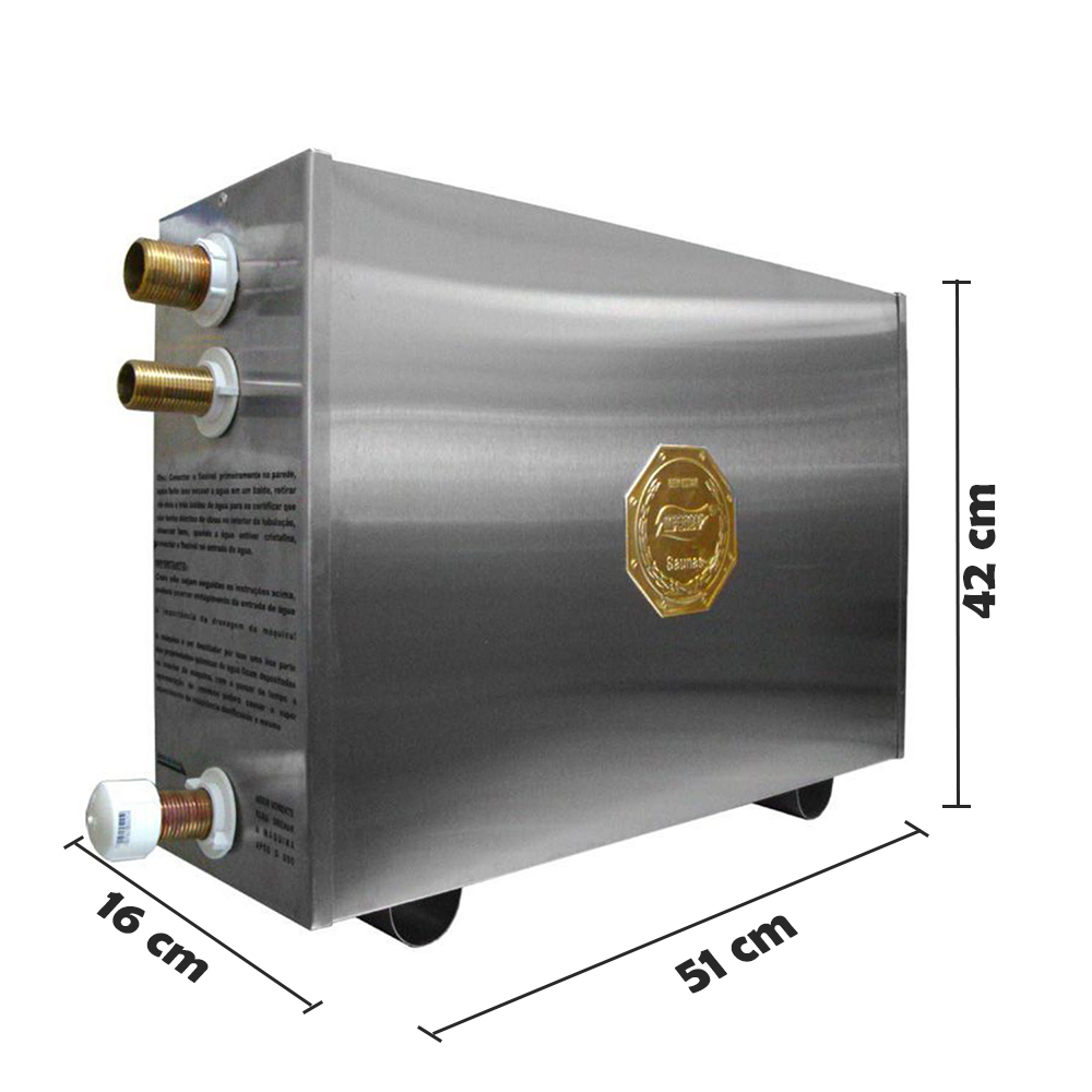 Sauna Vapor 16kw 220 Trif + Tubo Em Aço + Cesto Impercap - até 26m³
