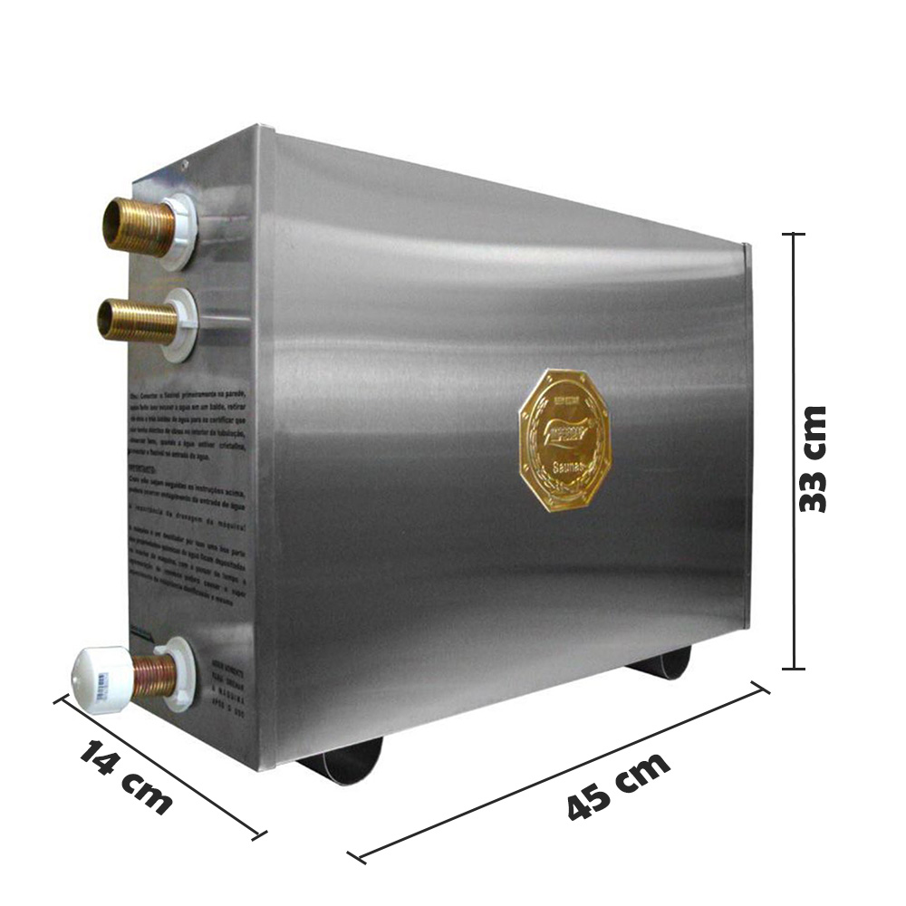 Sauna Vapor 9kw 220 Tri + Tubo Aço + Comando Digital Impercap - 12,5m³