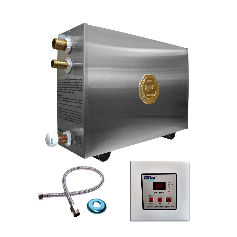 Sauna Vapor Elétrica 16kw Inox - Comando Digital Impercap - até 26m³