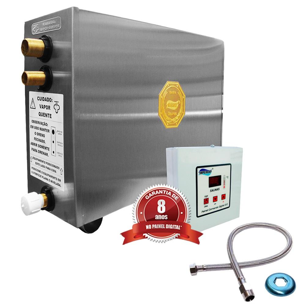 Sauna Vapor Elétrica 6kw Inox - Comando Digital Impercap - até 7,5m³