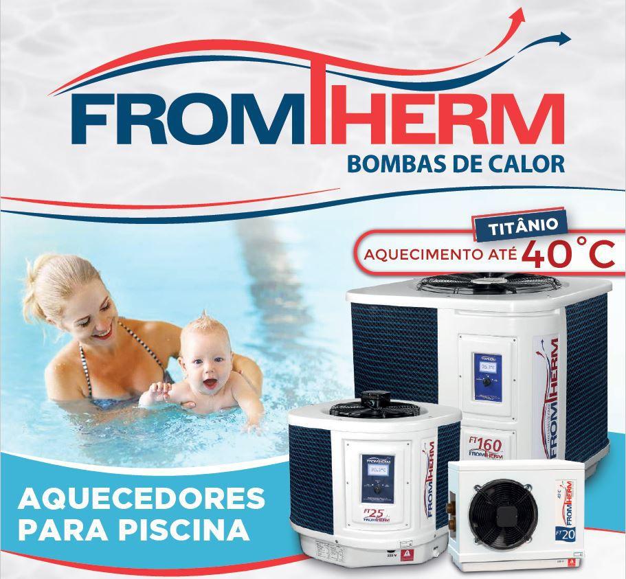 Trocador de Calor Aquecedor Piscina FromTherm FT25 com TouchScreen