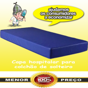 Capa Colchão Impermeável Hospitalar Azul Antiácaro Solteiro Zíper