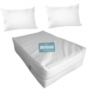 Kit Capa Impermeável Colchão Anti Alérgica Branca - Casal + 02 Capas de Travesseiro Branca