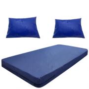 Kit Capa Para Colchão Solteiro Hospitalar Impermeável Com Ziper + 02 Capas Travesseiro Impermeável azul