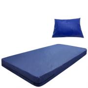 Kit Capa Para Colchão Solteiro Hospitalar Impermeável Com Ziper + Capa Travesseiro Impermeável azul