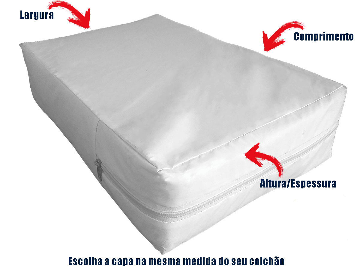 Capa Casal Impermeável Branca Anti alérgica Hospitalar Forrada Com Zíper Medida Especial  - Miranda Colchões