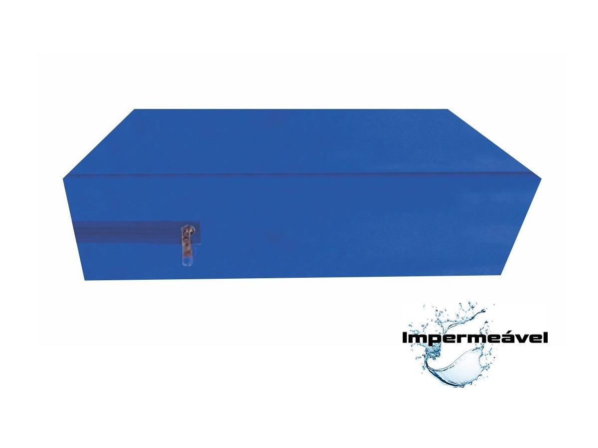 Kit Capa Para Colchão Solteiro Hospitalar Impermeável Com Ziper + Capa Travesseiro Impermeável azul  - Miranda Colchões