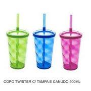 Copo Twister com Canudo e Tampa - Kit com 10 Unidades