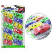 Carrinho Speed Car New Power Rl Colors  Kit com 12 Peças na Cartela