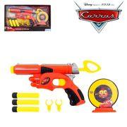 Carros - Pistola Lança Dardos Espuma +Alvo