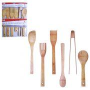 Conjunto de Talher de Bambu com 6 peças Colher de arroz/colher japonesa/colher/espatula/pegador/garfo