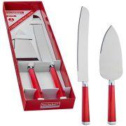 Conjunto para Bolo com Espatula 25 cm +faca 12 cabo  Acrílico Vermelho Carmin