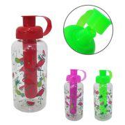garrafa/ squeeze de plastico pet flamingo com tubo de gelo 600 ml
