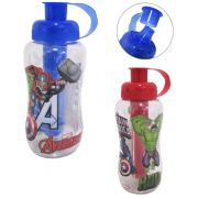 Garrafa/ Squeeze de plastico pet redonda vigadores/avengers com tubo de gelo 550 ml