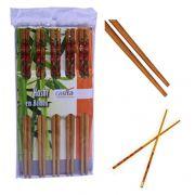 Jogo de  Hashi / palito de Bambu decorado  com 10 Pares  24 cm