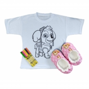 KIt Pantufa Infantil com Camiseta e Canetinha Lavavel