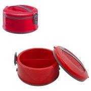 Marmita Termica de Plastico  2 com divisorias  e trava lateral  vermelha 1,5 L
