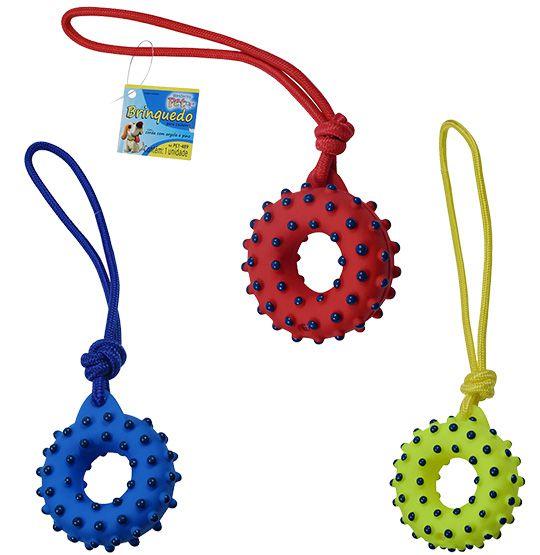 Brinquedo para Cachorro Argola com corda e som colors  - Bolas Lassabia - Bolas de Futebol e Volei