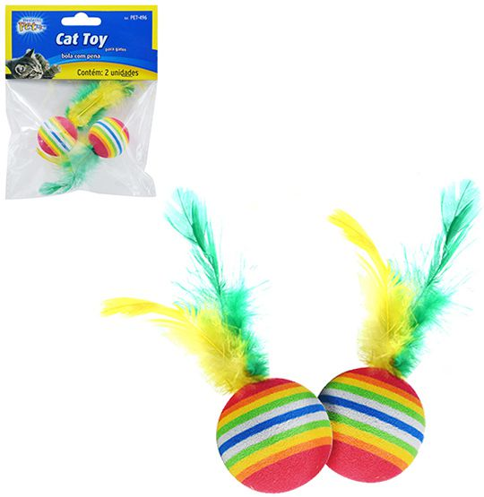 Brinquedo para Gato bola de EVA com Pena  - Super Tri Shop - Bolas - Utilidades - Presentes