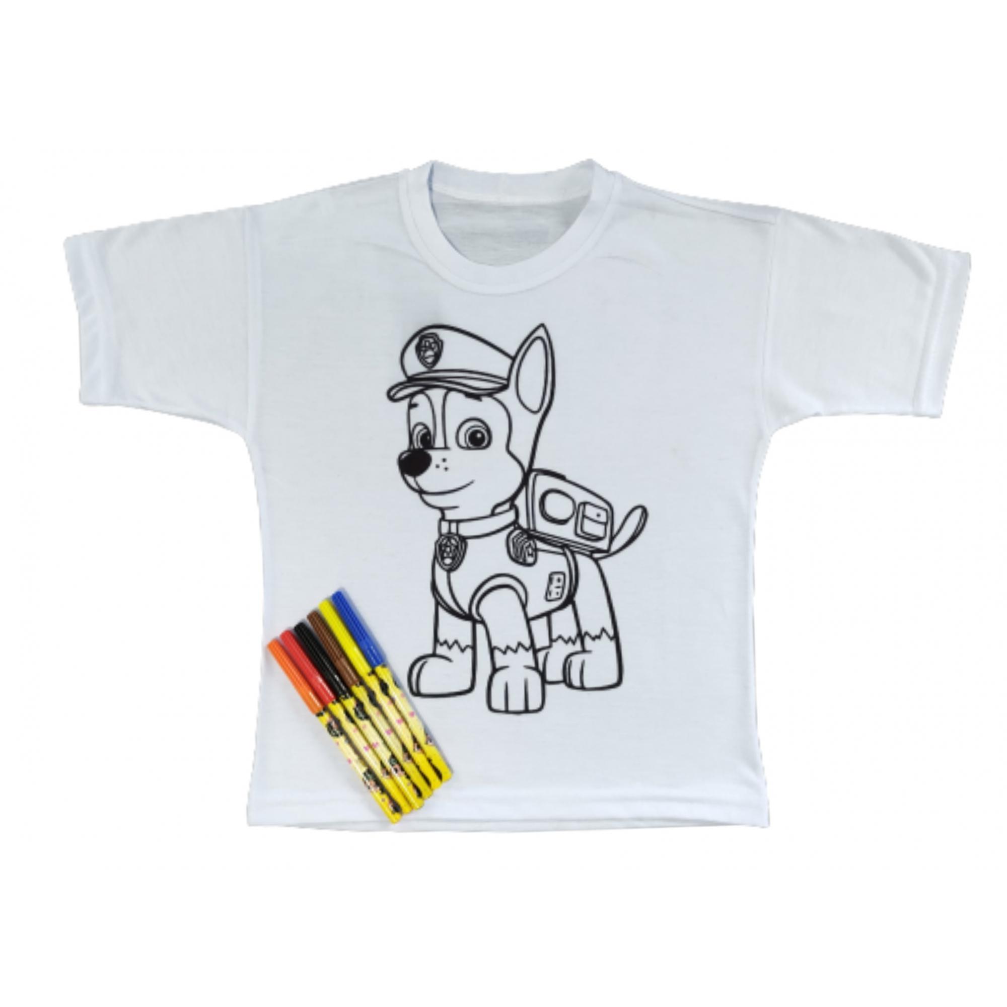 Camiseta Infantil Personagens com canetinha de tinta lavável - Meninos