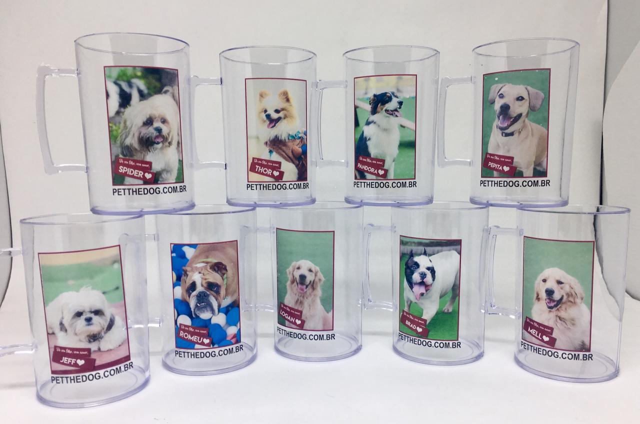 Canecas Pet Acrilica Lembranças Personalizadas com Foto - kit com 24 unidades  - Bolas Lassabia - Bolas e Brindes Personalizados