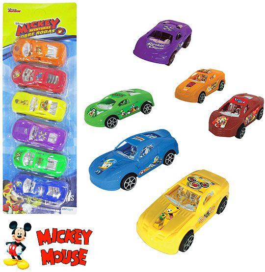 Carro a Fricção Mickey Colors Kit  com 6 Peças na Cartela  - Super Tri Shop - Bolas - Utilidades - Presentes