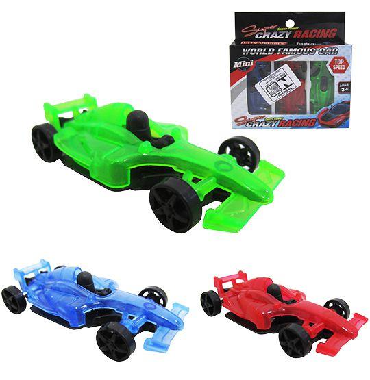 Carro Formula 1 Rl Super Crazy Racing  kit com 3 Peças na Cartela  - Bolas Lassabia - Bolas e Brindes Personalizados
