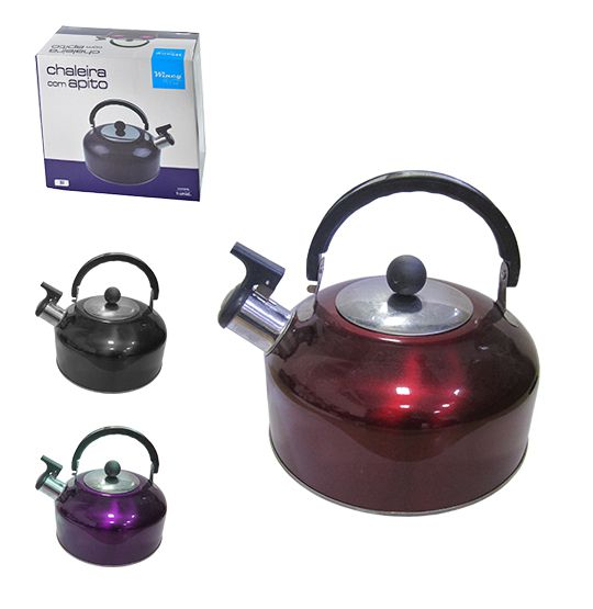 Chaleira de Inox com apito 3L colors na caixa  - Super Tri Shop - Bolas - Utilidades - Presentes