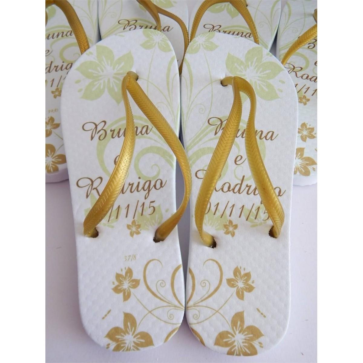 Chinelo Personalizado - Casamento ou Madrinha/Padrinho- Kit 10 Pares  - Super Tri Shop - Bolas - Utilidades - Presentes