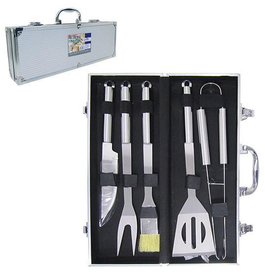 Conjunto de Churrasco com faca + garfo de Inox e Acessórios 5 Peças na Maleta  - Super Tri Shop - Bolas - Utilidades - Presentes