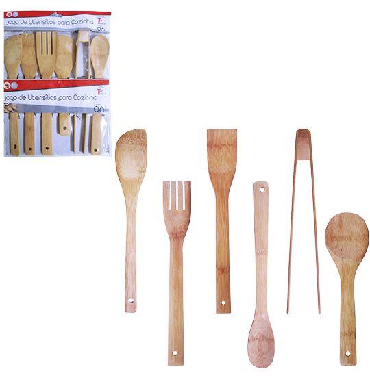 Conjunto de Talher de Bambu com 6 peças Colher de arroz/colher japonesa/colher/espatula/pegador/garfo  - Super Tri Shop - Bolas - Utilidades - Presentes