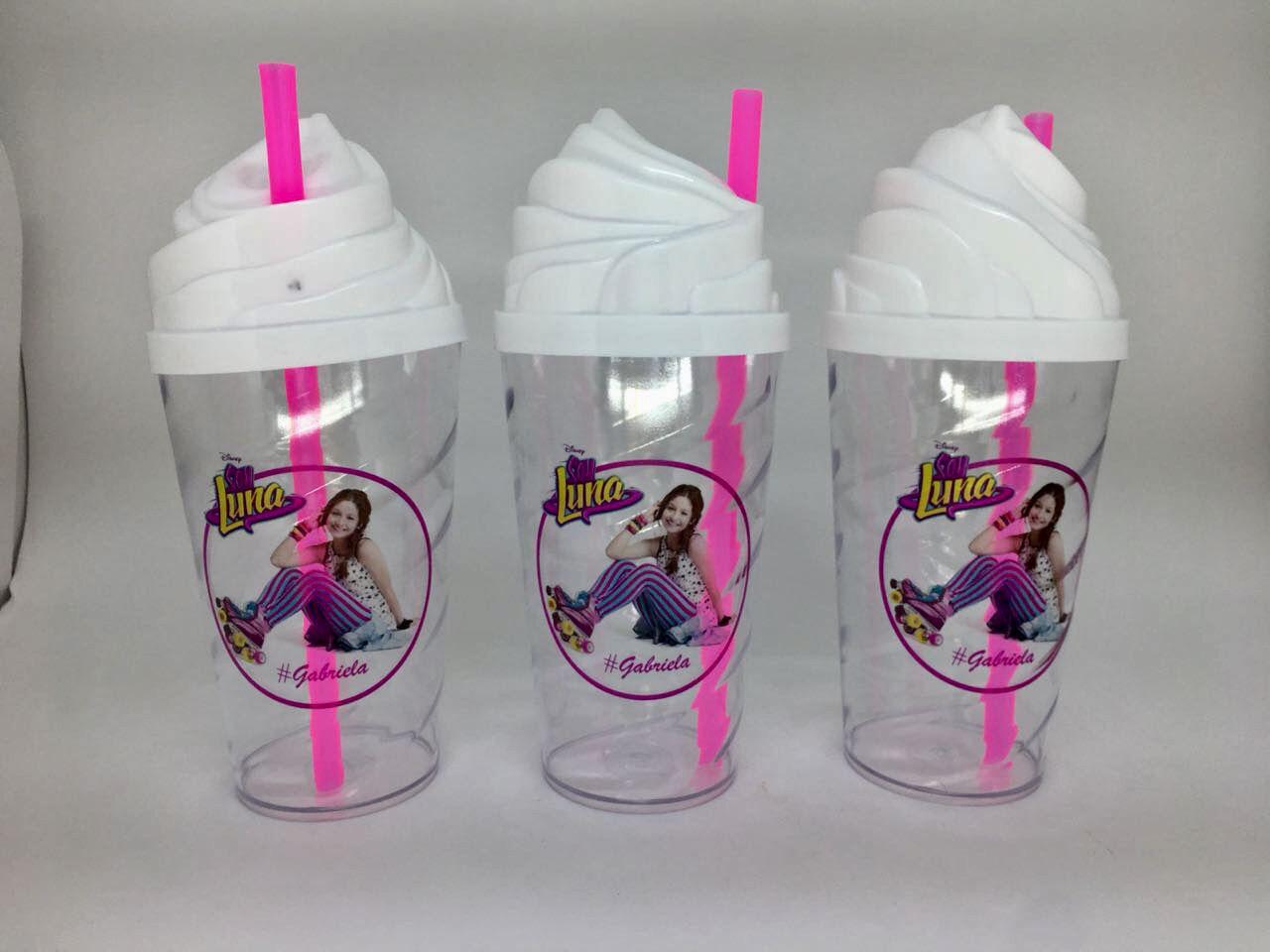Copo Shake com Tampa Chantilly e Canudo 500 ml Personalizado - Kit 20 unidades  - Bolas Lassabia - Bolas e Brindes Personalizados