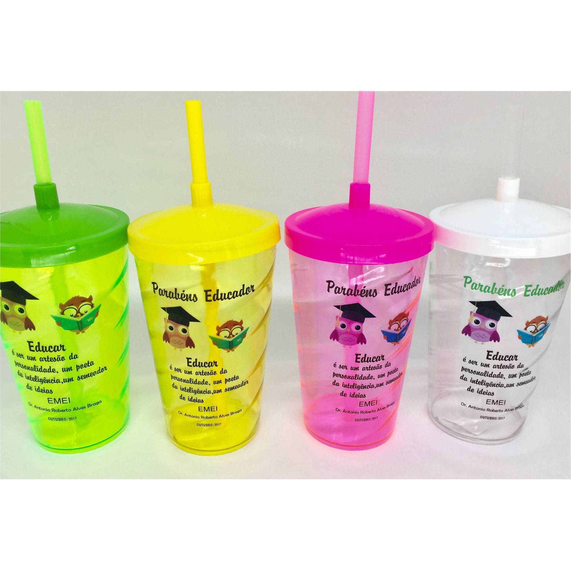 Copo Acrílico Shake com tampa e Canudo 500 ml - Personalizado - Kit 50 Unidades  - Bolas Lassabia - Bolas e Brindes Personalizados