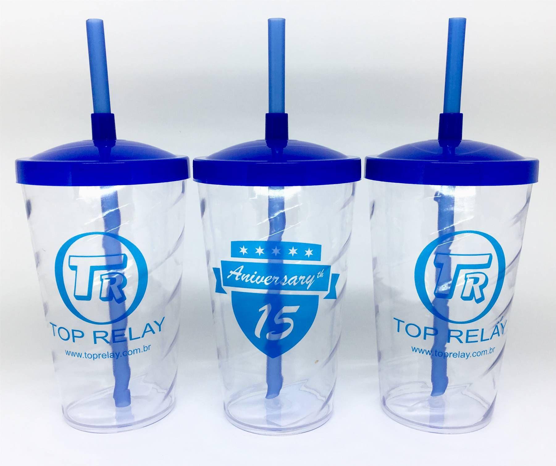 Copo Shake com Tampa e Canudo Personalizado 500 ml - Kit 100 unidades  - Bolas Lassabia - Bolas e Brindes Personalizados