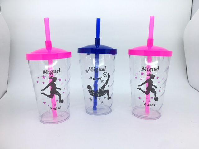 Copo Twister  Canudo e Tampa Personalizado 500 ml - kit com 20  - Bolas Lassabia - Bolas e Brindes Personalizados