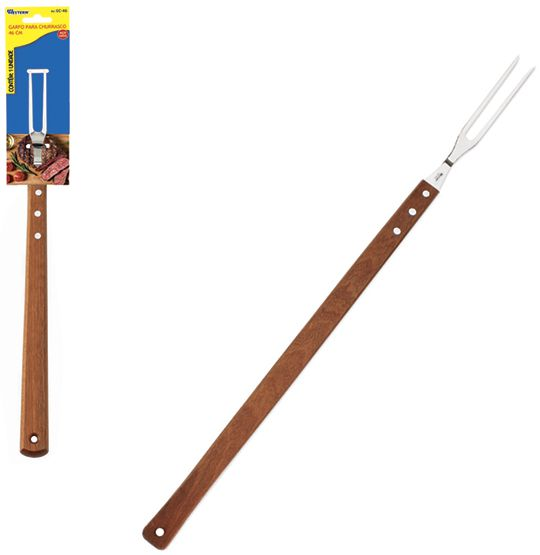 Garfo de churrasco de inox  com cabo de madeira 46 cm  - Super Tri Shop - Bolas - Utilidades - Presentes