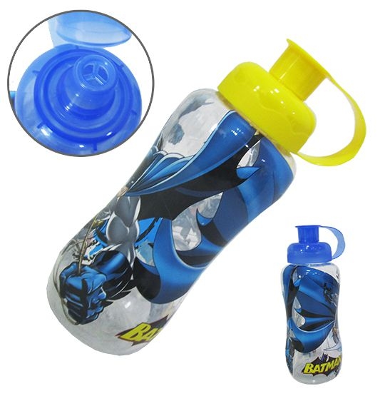 garrafa / squeeze de plastico pet  batman com tampa colors 600 ml  - Super Tri Shop - Bolas - Utilidades - Presentes