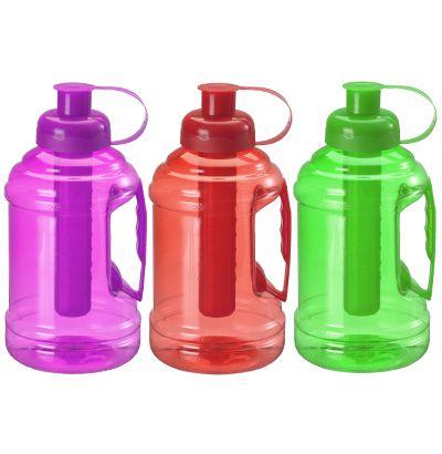 Garrafa / Squeeze de plastico Pet com  alça + tubo de gelo 1000 ml  - Super Tri Shop - Bolas - Utilidades - Presentes
