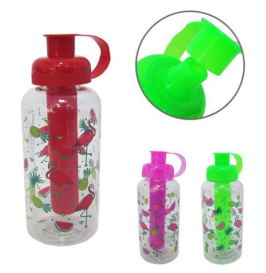garrafa/ squeeze de plastico pet flamingo com tubo de gelo 600 ml  - Super Tri Shop - Bolas - Utilidades - Presentes