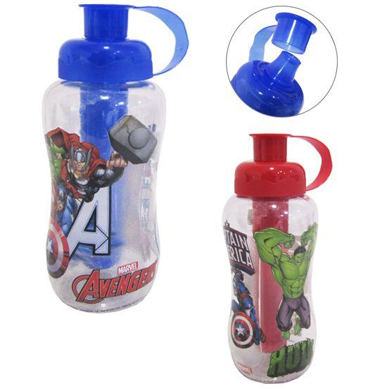 Garrafa/ Squeeze de plastico pet redonda vigadores/avengers com tubo de gelo 550 ml  - Super Tri Shop - Bolas - Utilidades - Presentes