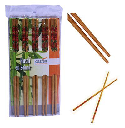 Jogo de  Hashi / palito de Bambu decorado  com 10 Pares  24 cm  - Super Tri Shop - Bolas - Utilidades - Presentes