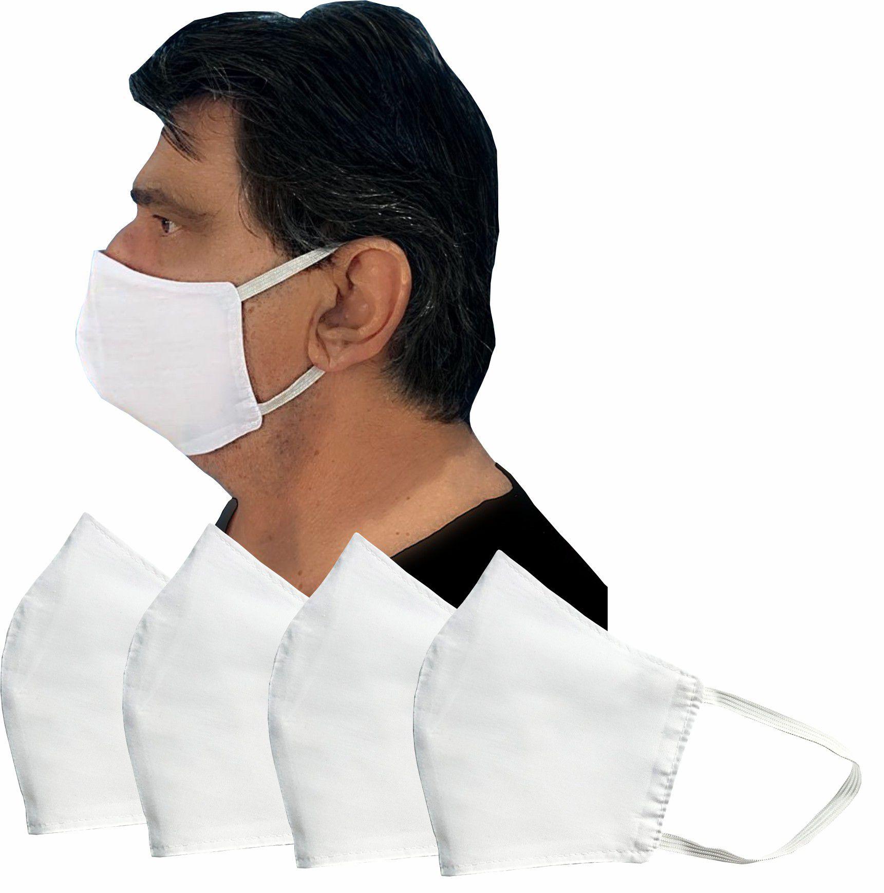 Kit 06 Mascaras de Tecido Proteção Dupla Lavável e Reutilizável Secagem Rápida Ajusta bem ao rosto Tamanho M