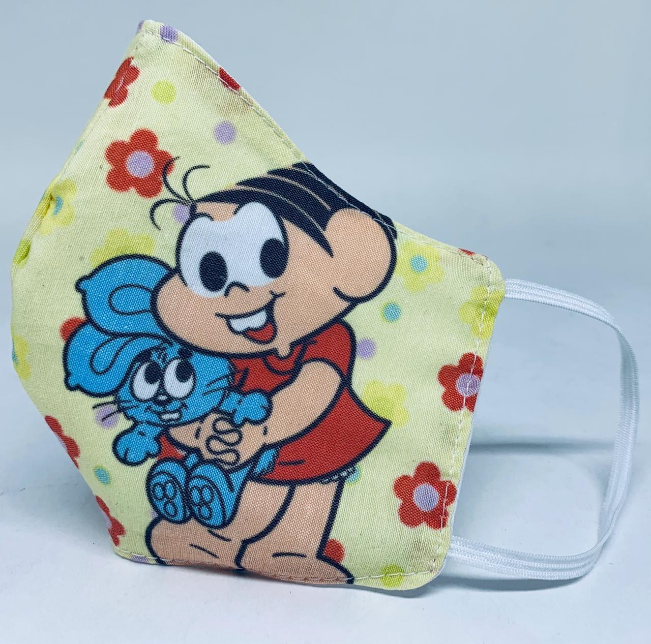Máscara de proteção de tecido infantil kit com 05 unidades para crianças de 02 a 04 anos