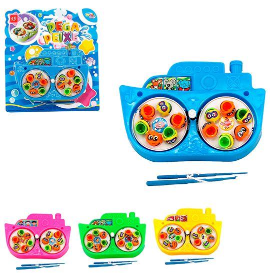 Pega Peixe Corda Duplo barquinho colors na Cartela  - Super Tri Shop - Bolas - Utilidades - Presentes
