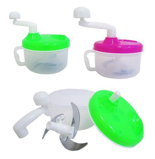 PROCESSADOR DE ALIMENTOS MANUAL DE PLASTICO COLORS COM LAMINA DE INOX  - Super Tri Shop - Bolas - Utilidades - Presentes