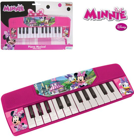 TECLADO / PIANO MUSICAL INFANTIL MINNIE A PILHA   - Super Tri Shop - Bolas - Utilidades - Presentes