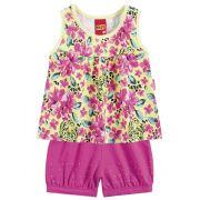 Conjunto Blusinha Florida e Shorts Rosa | KYLY